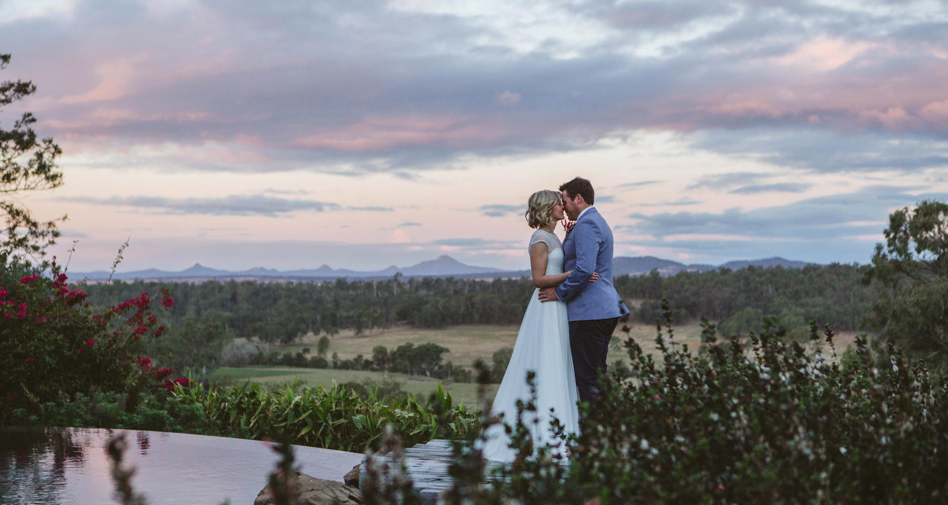 Bride and Groom at Sunset, Spicers Hidden Vale