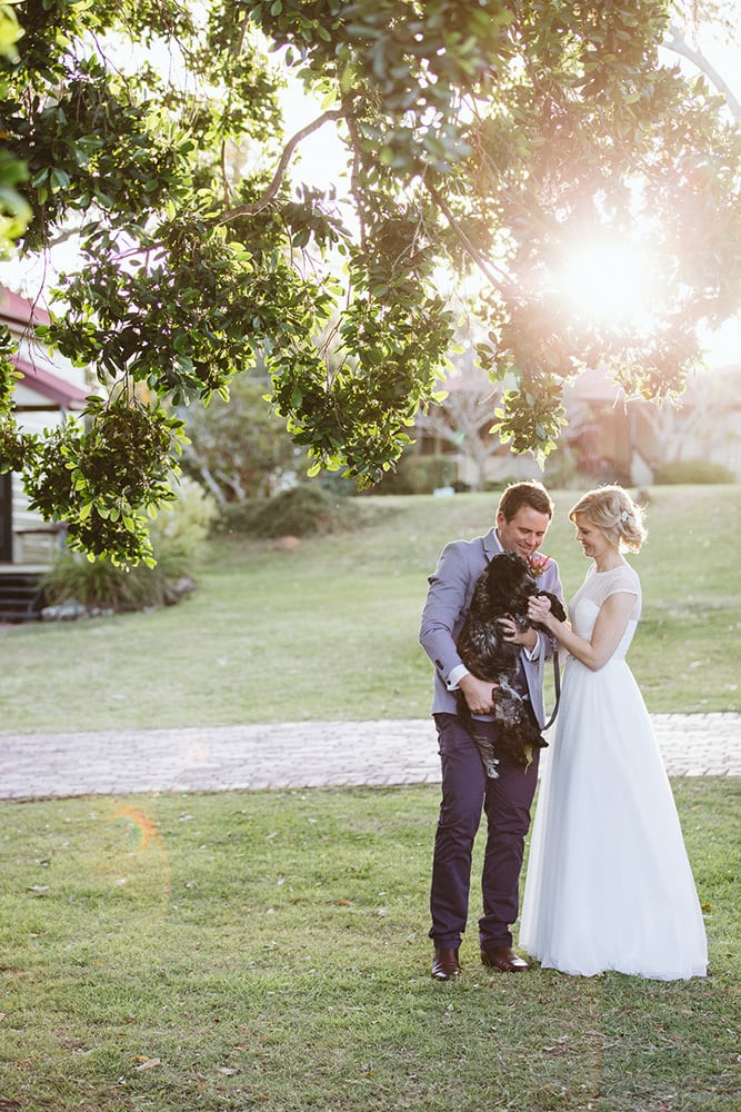 Bride and Groom with their Dog at Spicers Hidden Vale