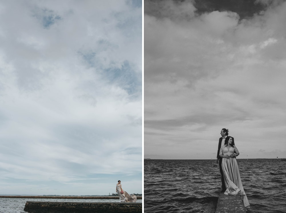 Candid photograph of bride and groom at Wynnum waterfront Brisbane | Cloud Catcher Studio