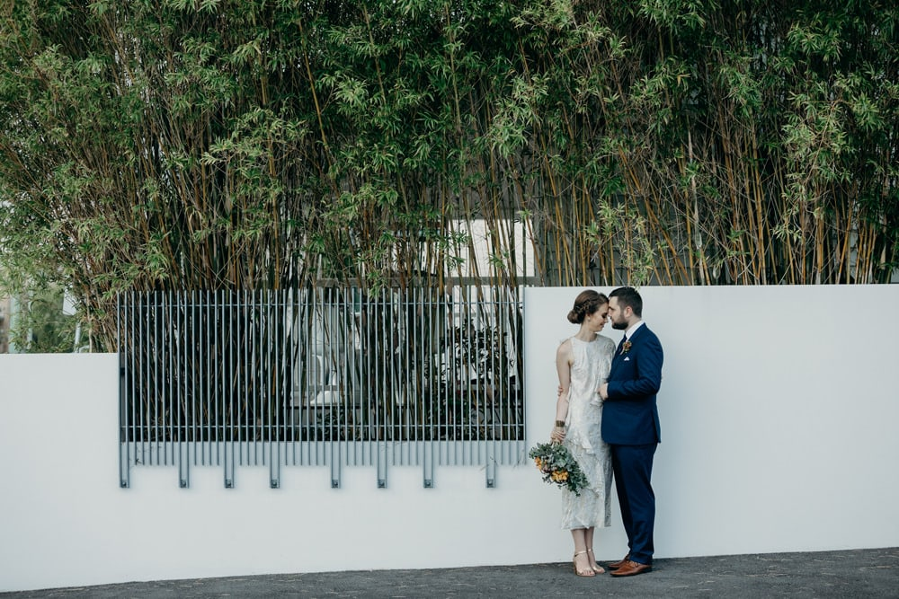 Bride and Groom in Fortitude Valley - Bride and groom silhouette - by Cloud Catcher Studio