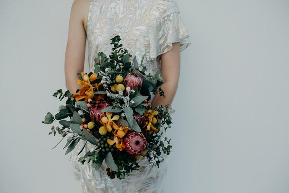Detail of Bride's native Australian bouquet - by Cloud Catcher Studio