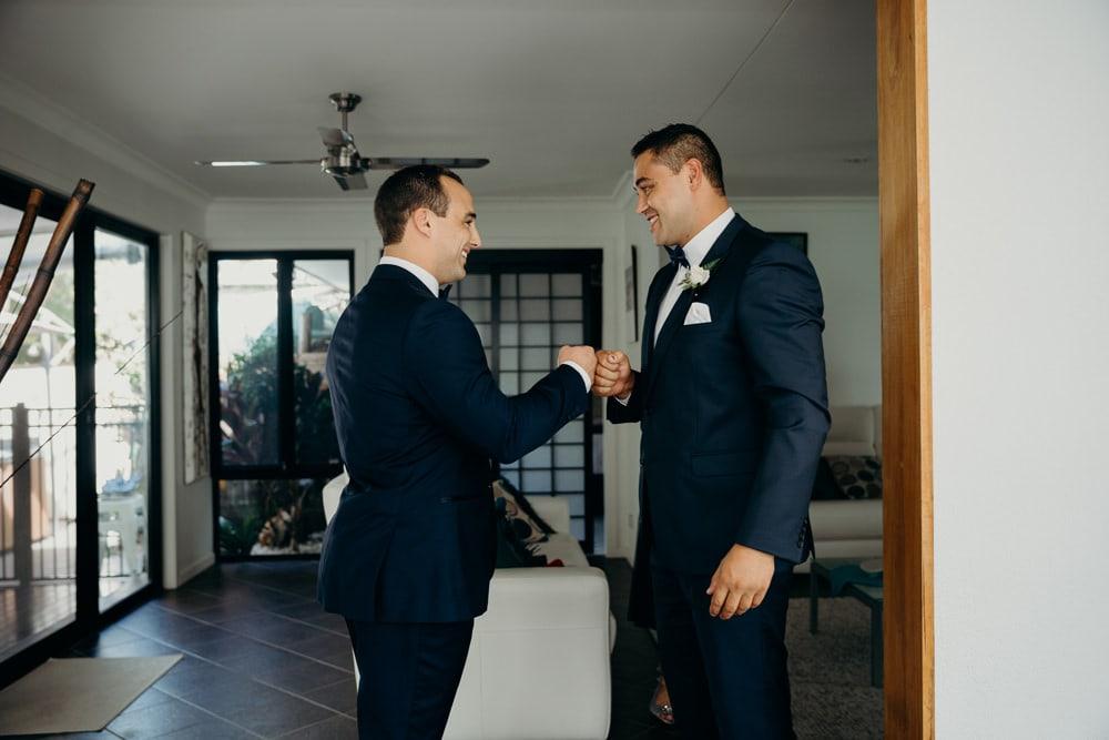 Groom and Best Man getting ready Moda Portside Wedding by Cloud Catcher Studio
