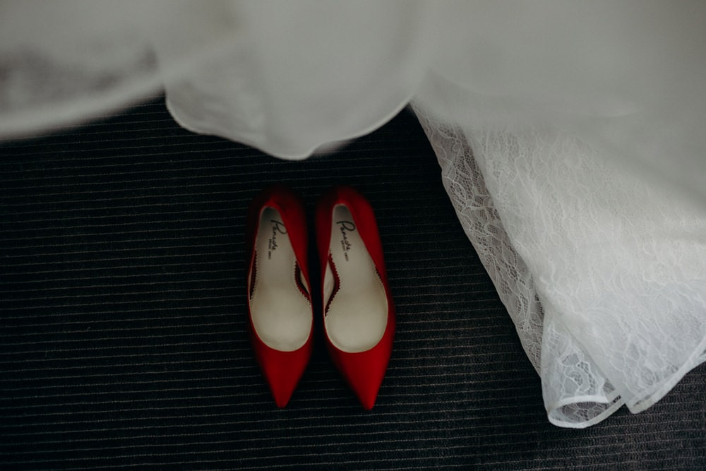 Bride's shoes and dress at Sofitel Brisbane
