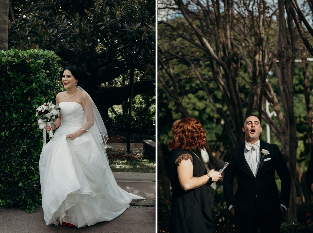 Groom's reaction as bride walks down the aisle Roma Street Parkland