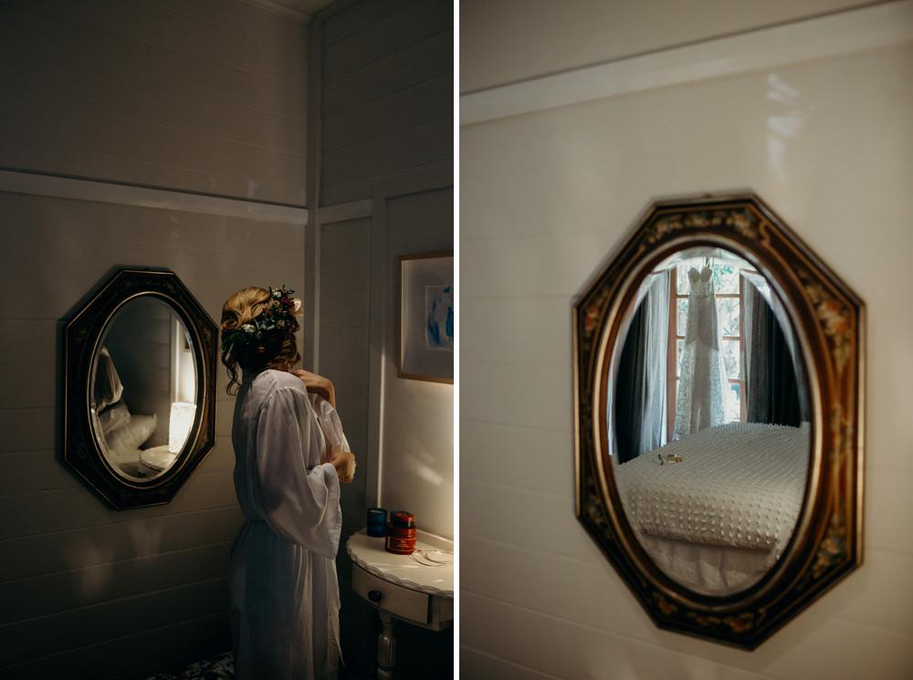 Bride getting ready for her Byron Bay wedding in Newrybar by Cloud Catcher Studio