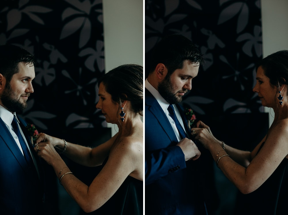 Groom and his mother getting ready Brisbane wedding by Cloud Catcher Studio