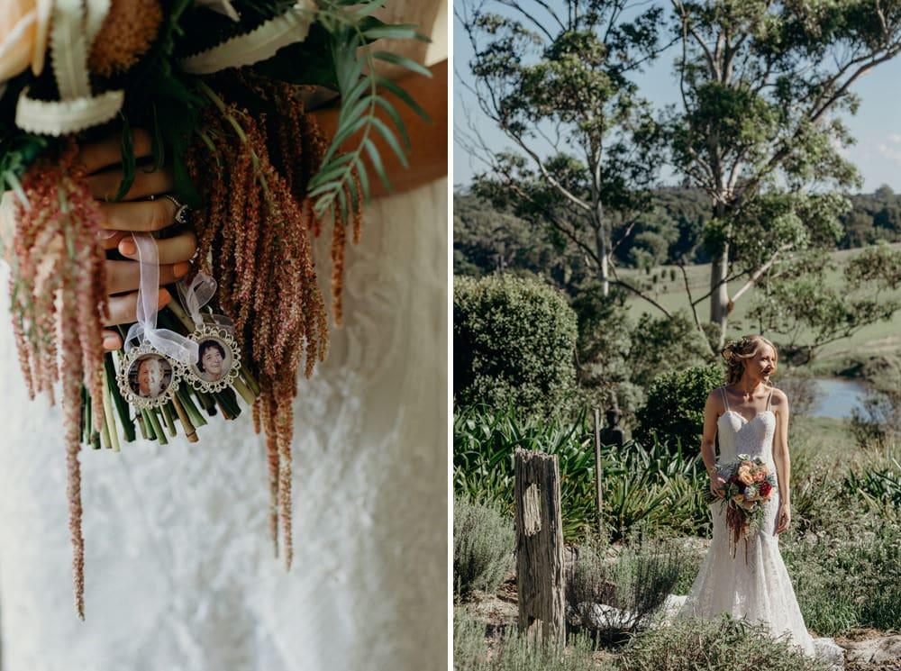 Bride in garden at Newrybar, Byron Bay Wedding by Cloud Catcher Studio
