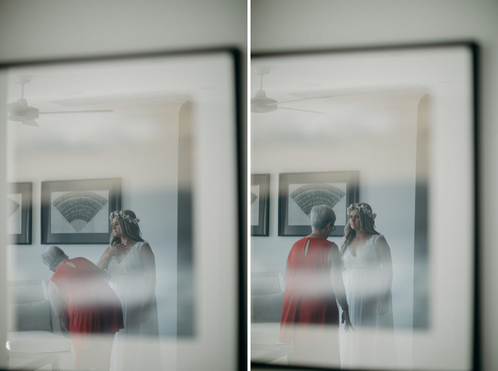 Reflection of Bride and her mum in a frame || Noosa Springs Resort Wedding by Cloud Catcher Studio
