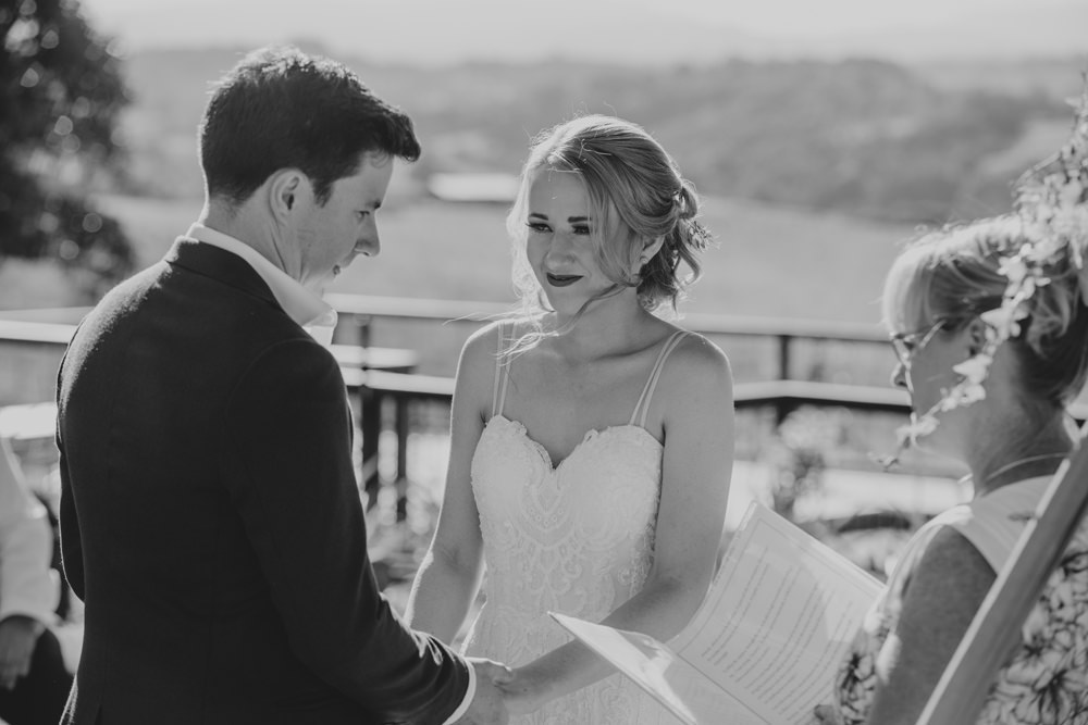 Bride and Groom at wedding Ceremony in Byron Bay by Cloud Catcher Studio