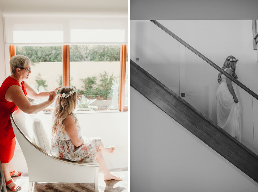 Bride getting flower crown attached || Noosa Springs Resort Wedding by Cloud Catcher Studio