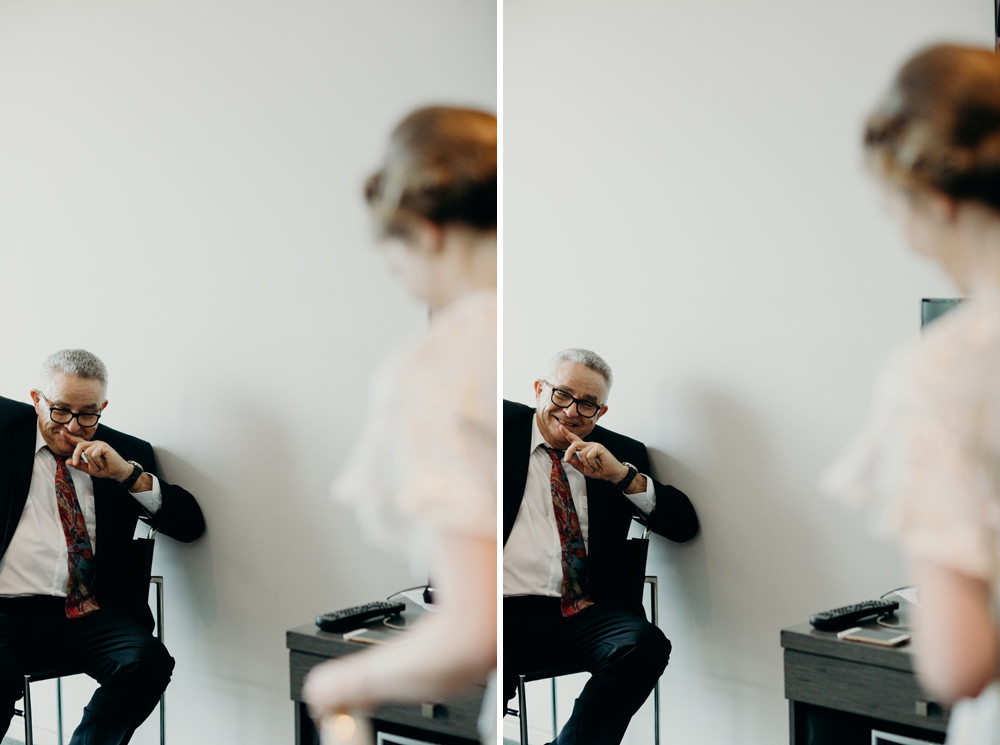 Father sees Bride for first time - Lightspace Brisbane wedding by Cloud Catcher Studio
