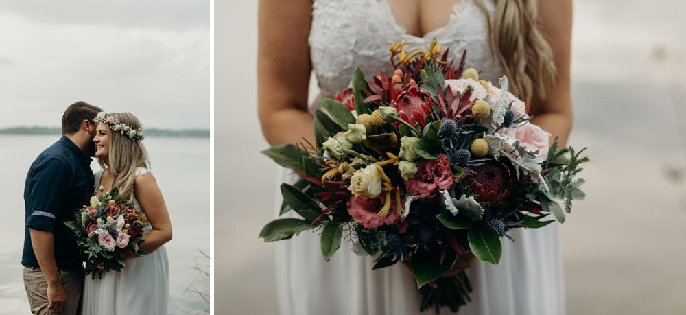 Bride and Groom and Bride's bouquet detail by Lake Weyba Noosa Springs Resort Wedding by Cloud Catcher Studio