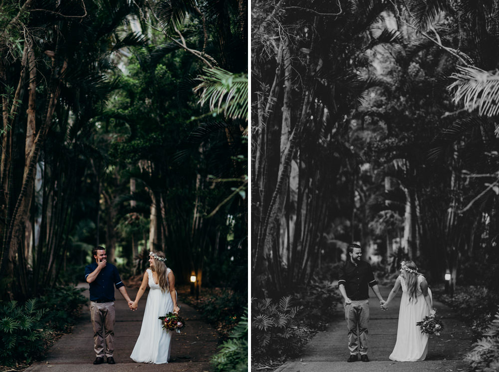 Candid photo of bride and groom laughing at Noosa Springs Resort Wedding by Cloud Catcher Studio