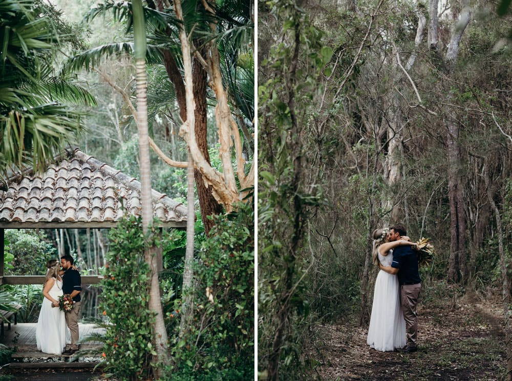 Bride and groom in rainforest and bush at Noosa Springs Resort Wedding by Cloud Catcher Studio