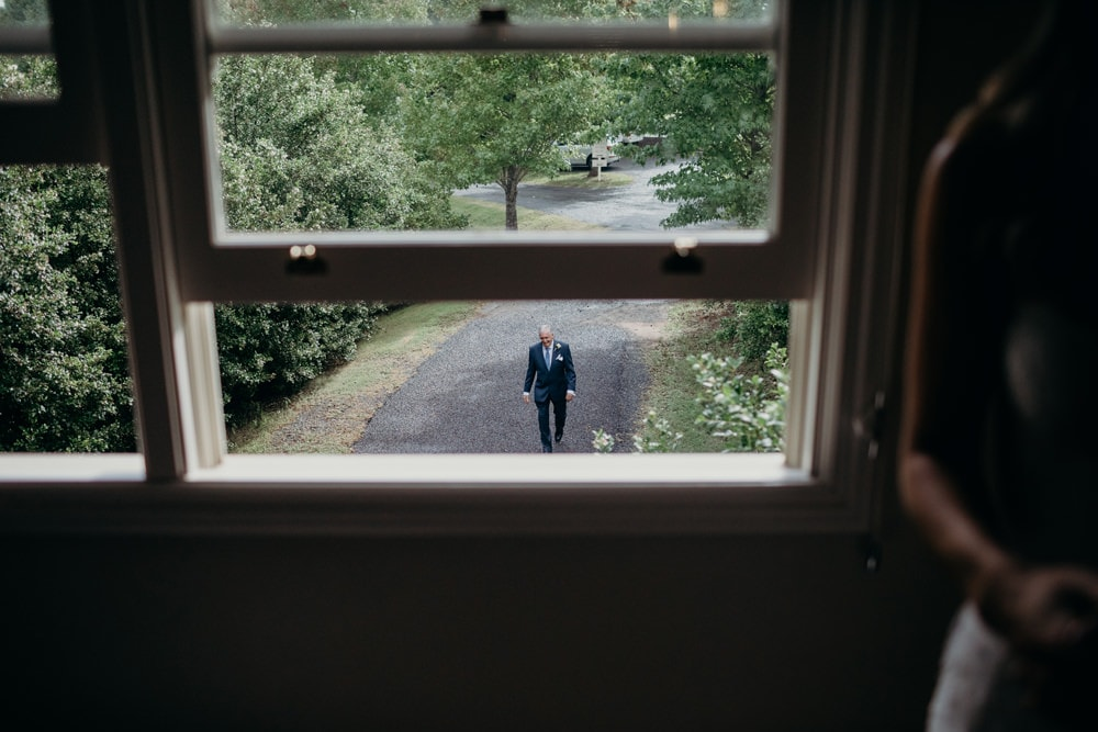 Bride hiding from her dad at Spicers Clovelly Estate Wedding by Cloud Catcher Studio