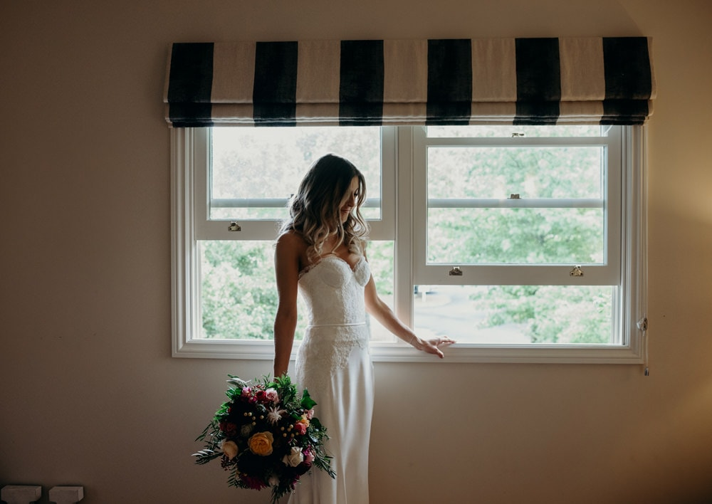Portrait of Bride in the Bridal Cottage at Spicers Clovelly Estate Wedding by Cloud Catcher Studio