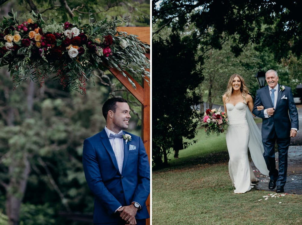 Groom watching bride walk down the aisle at Spicers Clovelly Estate Wedding by Cloud Catcher Studio