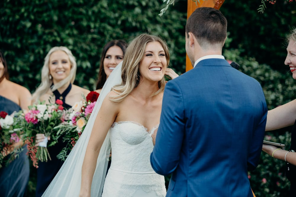 Candid photo of bride during ceremony at Spicers Clovelly Estate Wedding by Cloud Catcher Studio
