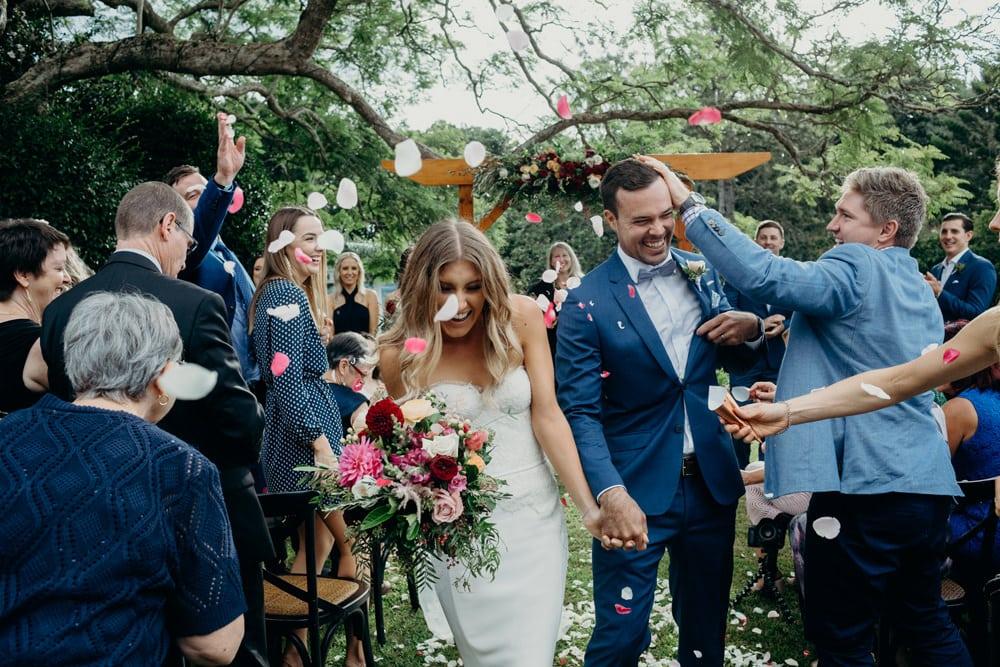 Joyful confetti shot at Spicers Clovelly Estate Wedding by Cloud Catcher Studio
