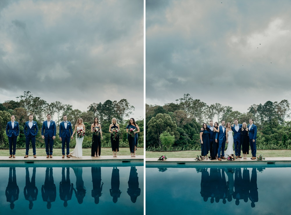 Bridal party around the pool at Spicers Clovelly Estate Wedding by Cloud Catcher Studio