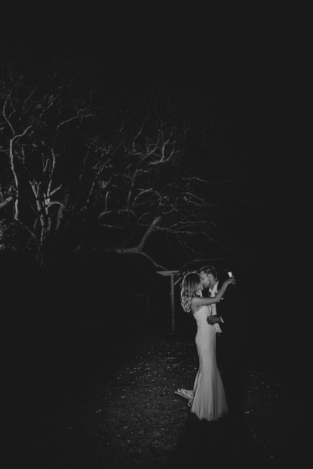 Bride and groom night portrait outside Crazy dance floor photos at Dance floor madness at Spicers Clovelly Estate Wedding by Cloud Catcher Studio