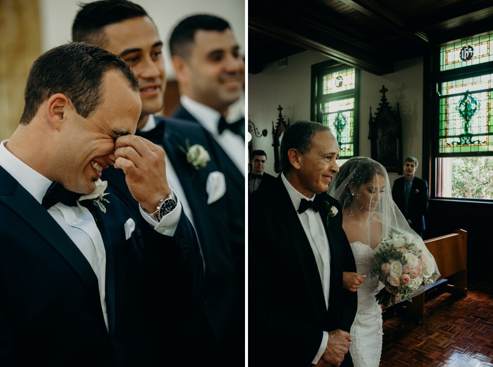 Groom's reaction to seeing Bride All Hallows Brisbane by Cloud Catcher Studio