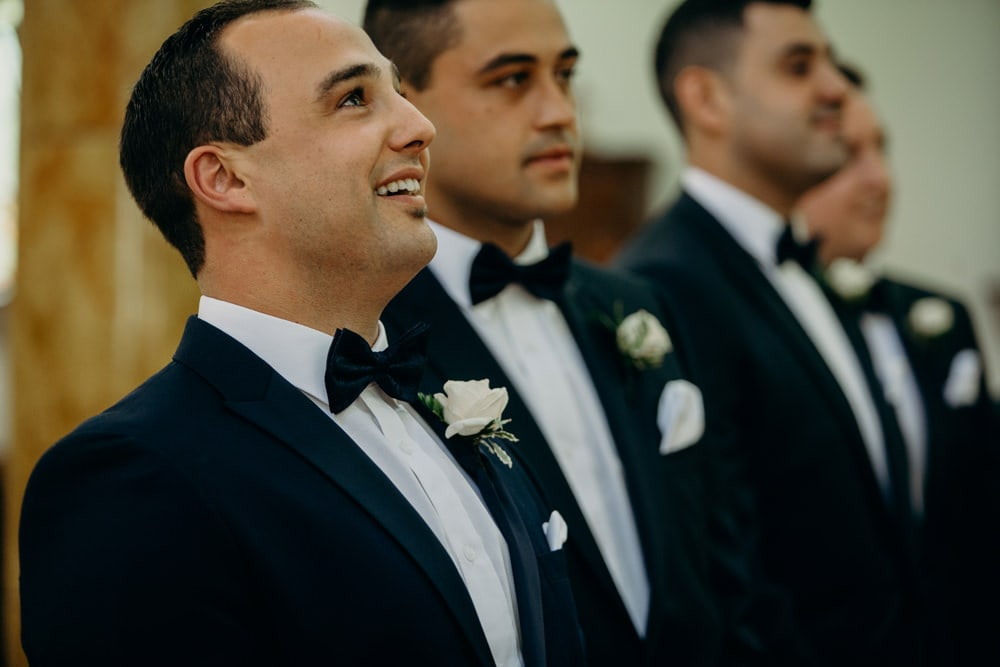 Groom's reaction to Bride at All Hallow's Church by Cloud Catcher Studio