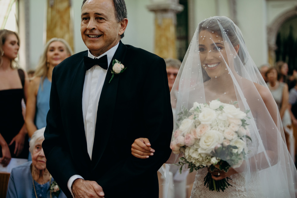 Bride and her Dad walking down the aisle All Hallows Church Brisbane by Cloud Catcher Studio