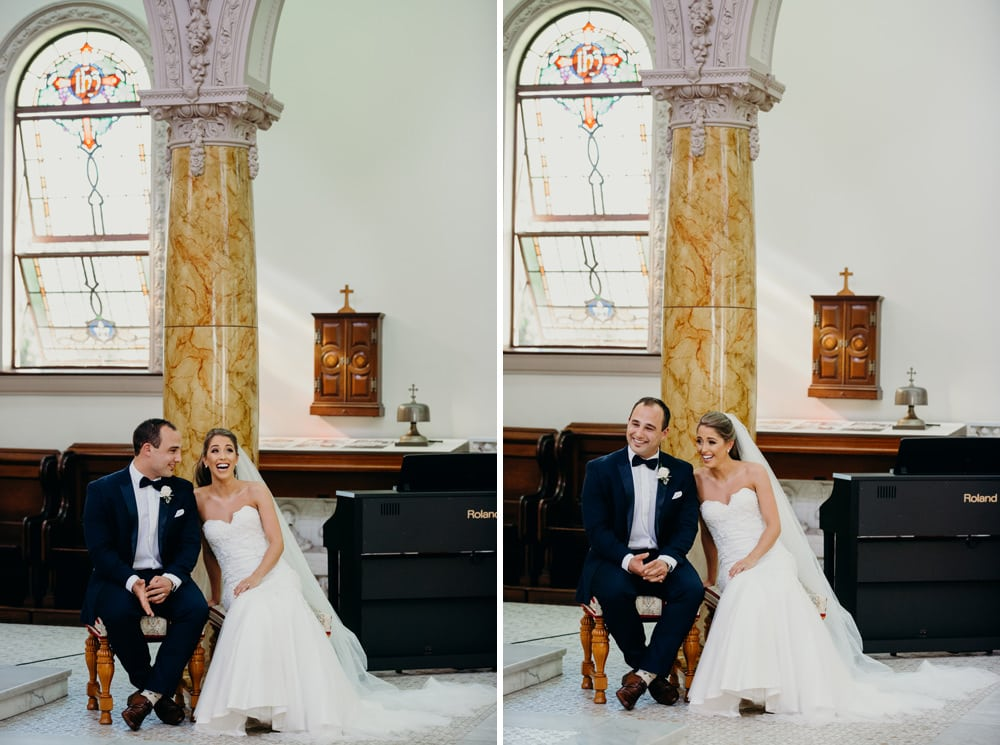 Candid photos of Bride and Groom at their Wedding at All Hallows Church by Cloud Catcher Studio