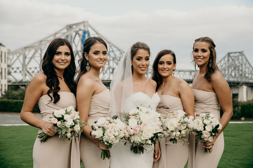 Bride and her bridesmaids in front of the Story Bridge Brisbane by Cloud Catcher Studio