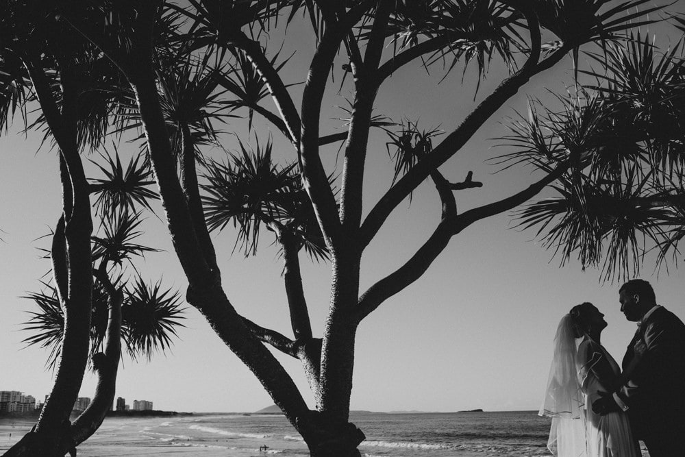 Silhouettes at Alexandra Headland of Bride and Groom by Cloud Catcher Studio