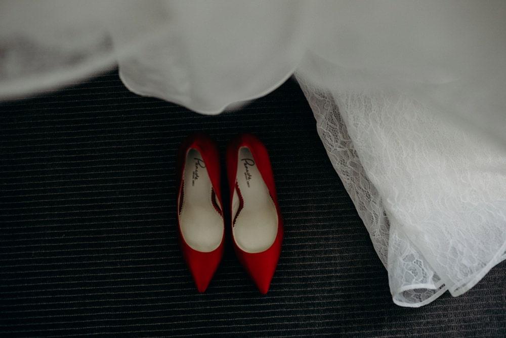 Bride's shoes and dress at Sofitel Brisbane