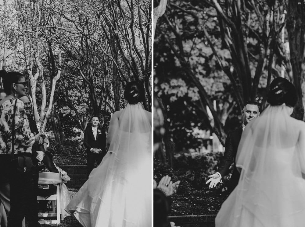 Groom's reaction as bride walks down the aisle Roma Street Parkland